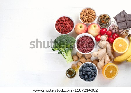 Food sources of natural antioxidants. Top view. Healthy diet concept with copy space #1187214802