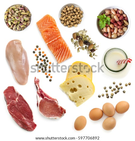 Shutterstock Food sources of protein, isolated, top view.  Includes meat, fish, dairy, beans, nuts and seeds.