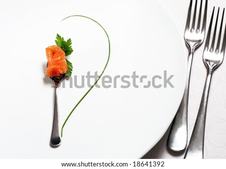 Food Still Life Flatware, Fish and Green. Abstract Flower - stock photo