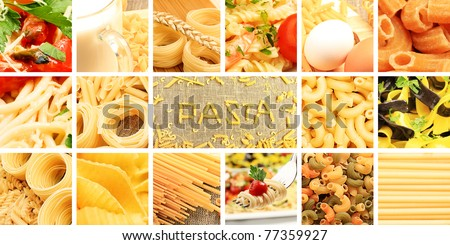 Food theme: conceptual collage of delicious pasta.