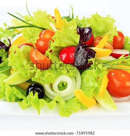 Food theme: fresh vegetable salad, side dishes.