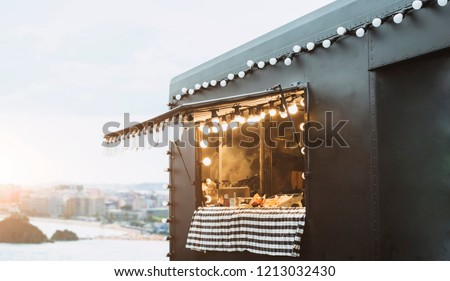Food truck background street food business concept.