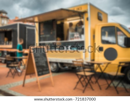 Food truck festival, blurred image for background Foto stock ©