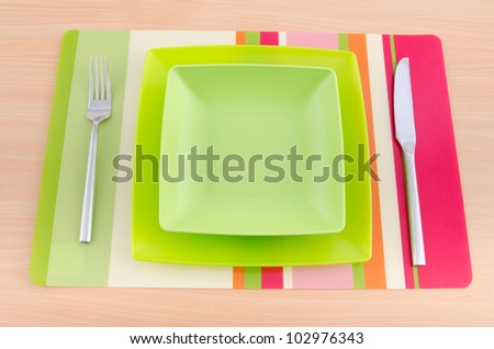 Food utensils on the mat