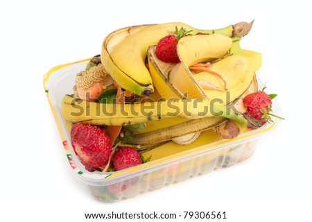 Food waste on a white background