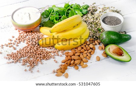 Foods containing magnesium. Healthy diet eating concept.