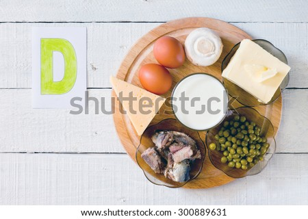 Foods containing vitamin D: cheese, eggs, mushrooms, milk, butter, peas, canned in oil