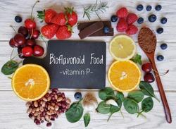 Foods high in bioflavonoids or flavonoids or vitamin P. Flavonoid rich food can help with heart health, cancer prevention, allergies, asthma, hypertension, varicose veins, hemorrhoids, hepatitis, etc.