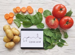 Foods rich in alpha lipoic acid with structural chemical formula of lipoic acid. Various fresh vegetable as best food sources of alpha lipoic acid.  Carrot, tomato, spinach, potatoes.