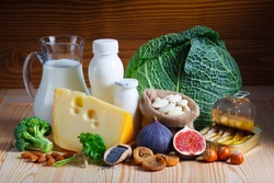 Foods rich in calcium such as sardines, bean, dried figs, almonds, hazelnuts, parsley leaves, blue poppy seed, broccoli, italian cabbage, cheese, milk, yogurt