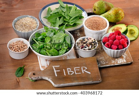 Foods rich in Fiber on a wooden table. Healthy eating. Selective focus ストックフォト ©