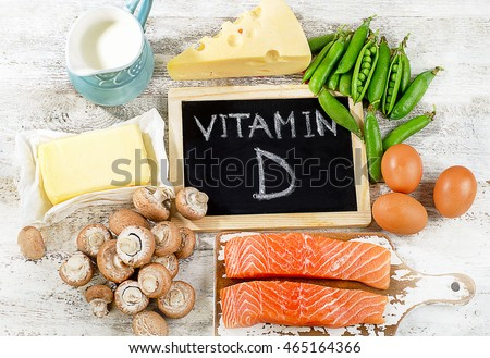 Foods rich in vitamin D. Top view #465164366