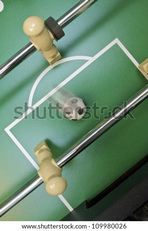 Foosball going into the opponent's goal
