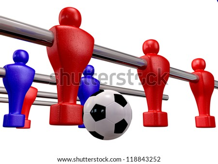 Foosball players of a blue and red team competing for a soccer ball on an isolated background