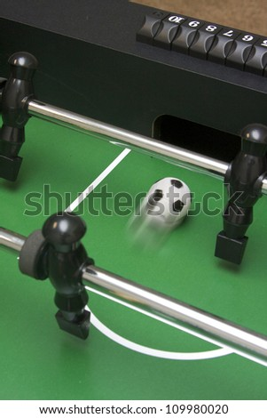 Foosball shot going into the opponent's goal