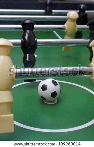Foosball soccer pieces on the game table