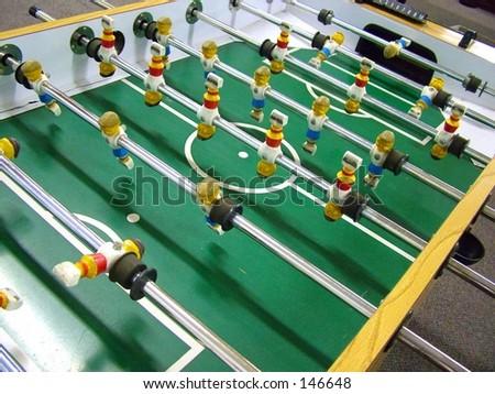 Foosball Table close up - stock photo
