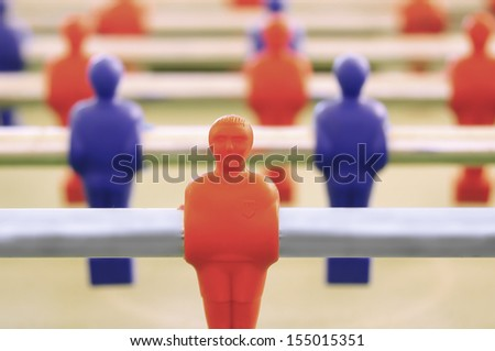 Foosball table detail - stock photo