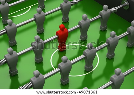 foosball table with red player among the identical gray team