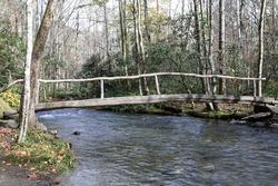 Foot bridge over Bradley Fork in the Graet Smoky Mountains National Park.