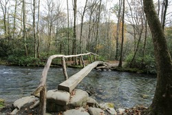 Foot bridge over Bradley Fork in the Great Smoky Mountains National Park.