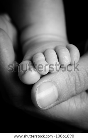 Foot from a four weeks old baby. Studio picture in black and white