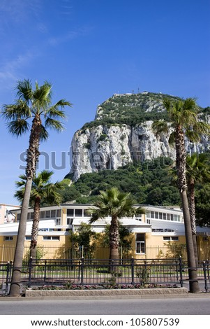 Foot of Gibraltar Rock, southern part of Iberian Peninsula.