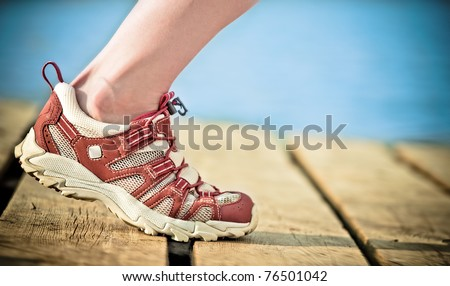 Foot of jogging person