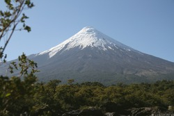 Foot of the mountain. View of the Osorno Volcano, Patagonia, Chile.