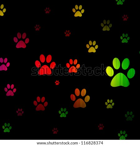 foot pet spectrum glowing isolated on black background.