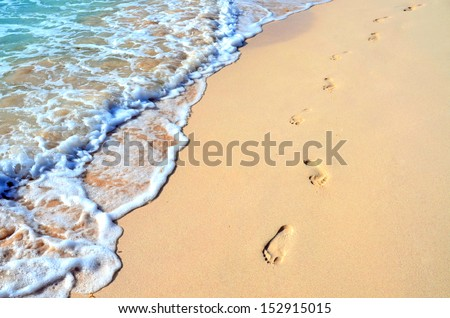 foot prints in beach