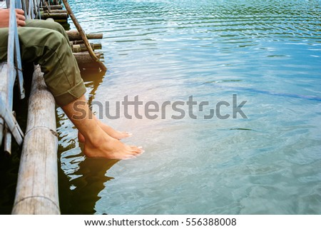 Foot soak to relax on vacation #556388008