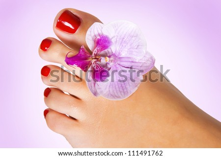 foot with flower of orchid