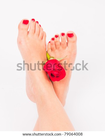 Foot with red rose