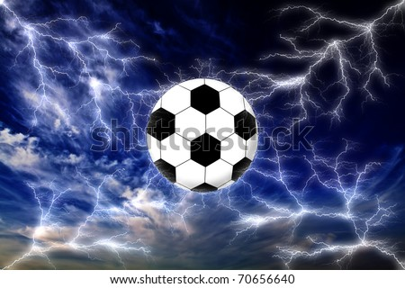 Football and lightning strike in the dark sky