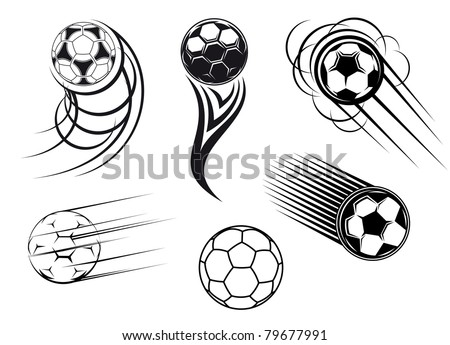 Football and soccer symbols, mascots and emblems for sports design. Vector version also available in gallery - stock photo