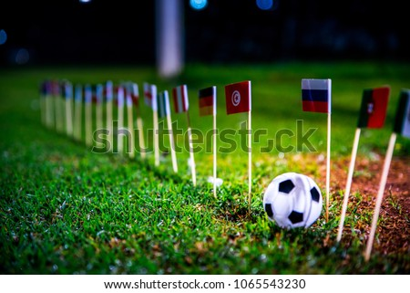 Football ball on green grass and all national flags  #1065543230