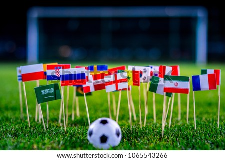 Football ball on green grass and all national flags #1065543266