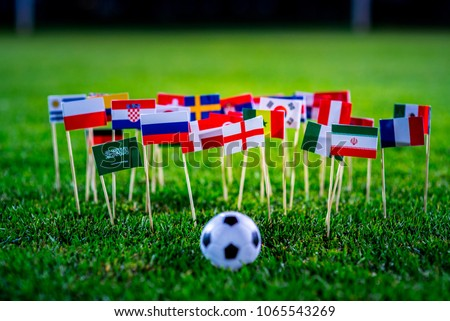 Football ball on green grass and all national flags #1065543269