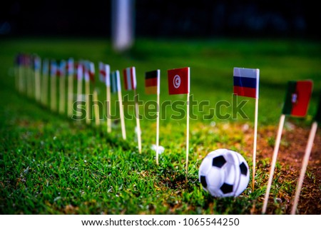 Football ball on green grass and all national flags #1065544250