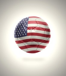 Football ball with the national flag of America on a gray background