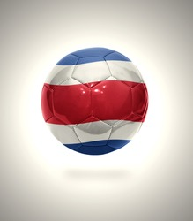 Football ball with the national flag of Costa Rica on a gray background