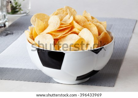 football bowl of chips sports fan men, sports, view, home, food