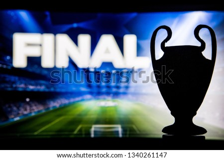 """Football Champions League trophy silhouette and tittle """"FINAL"""" in background  #1340261147"""