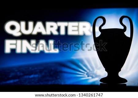 """Football Champions League trophy silhouette and tittle """"QUARTER FINAL"""" in background  #1340261747"""