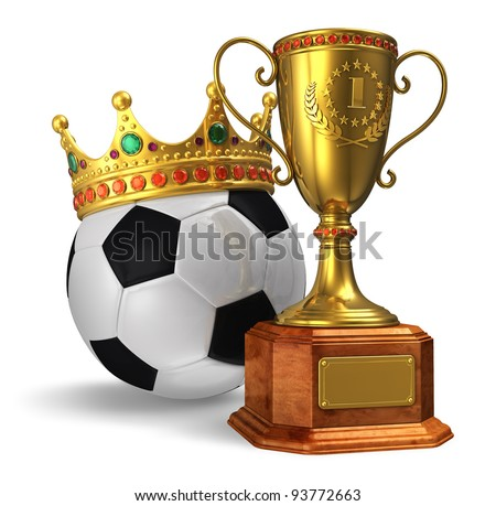 Football championship concept: golden trophy cup and soccer ball with crown isolated on white background