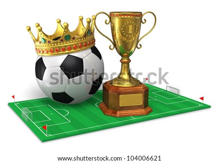 Football championship concept: golden trophy cup and soccer ball with crown on green soccer field isolated on white background