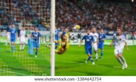 Football championship hot moment. Blurred image. #1384642754