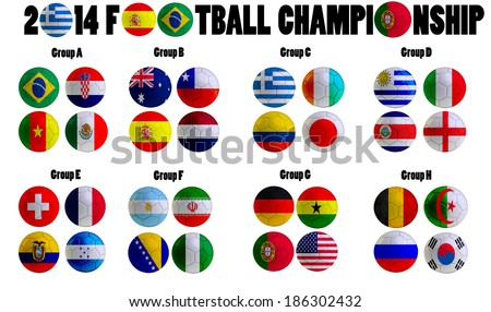 Football Championship 2014. in  Brazil. Groups A to H. 32 nation flags on football balls