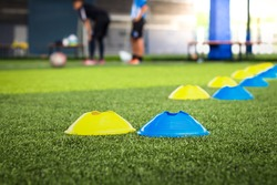 Football chips for training on artificial turf, Close up